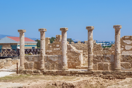 Ancient ruins at Paphos Archaeological Park Banco de Imagens