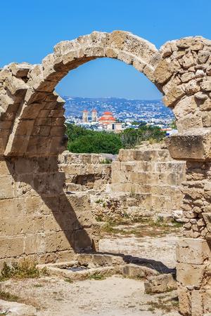 Ruins of ancient greek temple, Saranda Kolones 免版税图像