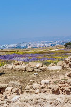 Ruins of ancient greek temple, Saranda Kolones. Cyprus Archaeological park at Kato Paphos, Cyprus Stock Photo