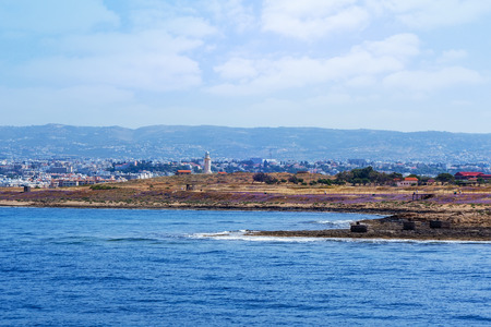 View from the sea to Archaeological park at Kato Paphos, Cyprus
