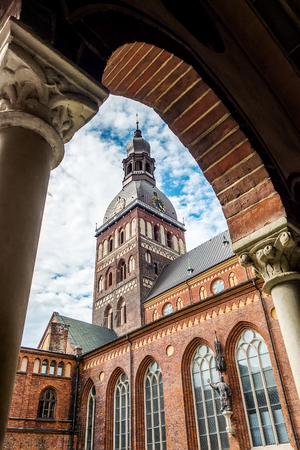 Riga Dome Cathedral tower at sunny day. View from inside gallery. Latvia