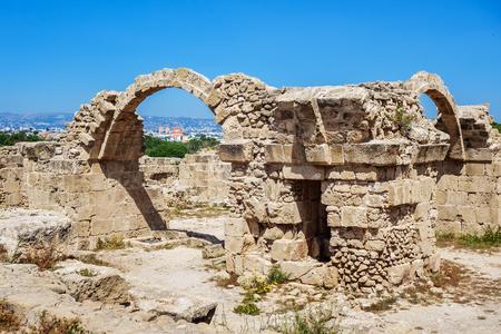 Ruins of ancient greek temple, Saranda Kolones. Archaeological park at Kato Paphos. Paphos, Cyprus Stock Photo