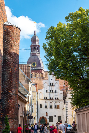 Old medieval street in the historic center of Riga, Latvia