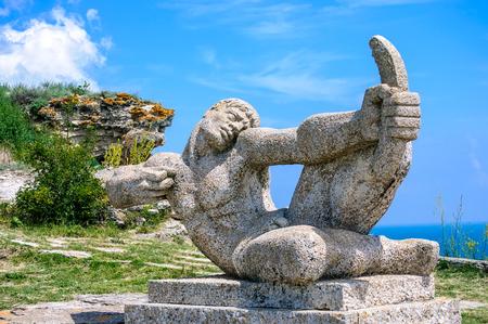Archer stone carved monument on Cape Kaliakra in Bulgaria Stock Photo