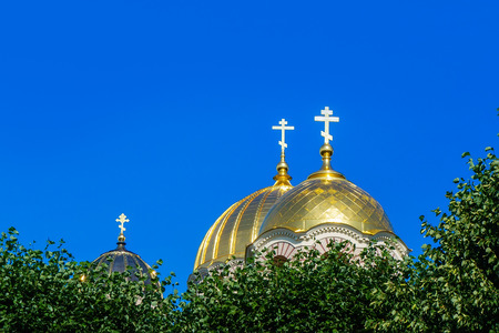 Golden Yellow Domes of Riga Nativity of Christ cathedral