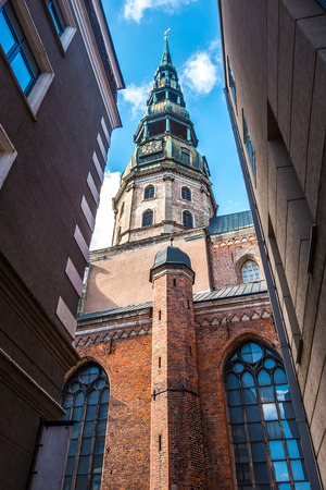 Riga Dome Cathedral tower at sunny day
