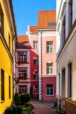 Colorful buildings in Old Riga city, Latvia