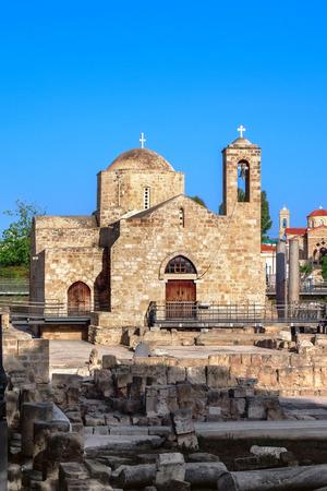 Chrysopolitissa church in Kato Paphos, Cyprus. Agia Kyriaki Chrysopolitissa Фото со стока