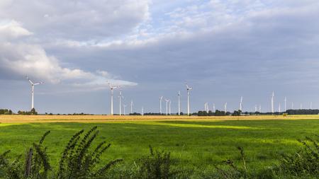 windturbine on a field - the new Landscape Stock Photo