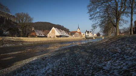 beside the white elster with a view of gera untermhaus, thuringia germany