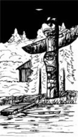 A totem pole overlooks a lake in the evening. Ilustrace