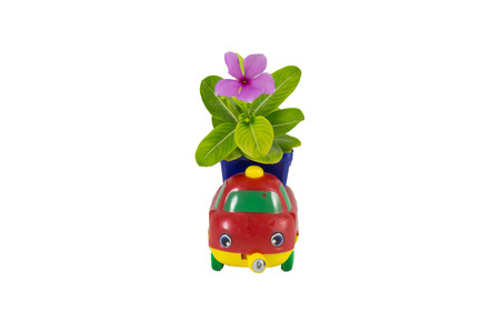 purple flowers: Purple flowers embroidered on the toy car Stock Photo