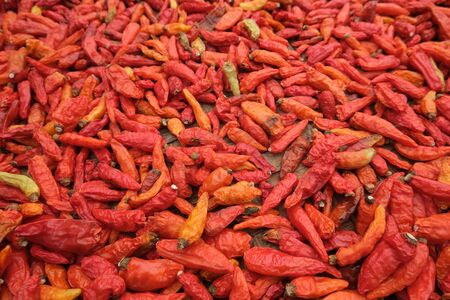 close up of dried red hot chillies Imagens