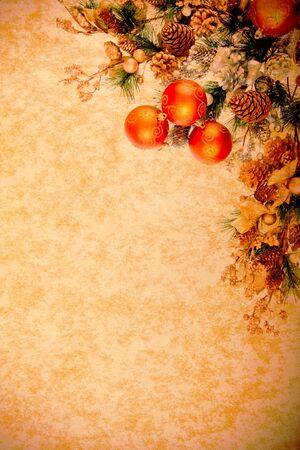 Vintage Christmas Decoration Corner Series on Parchment Paper  photo