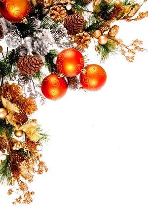 Christmas Ornament Coner Decoration Series �solated on white photo