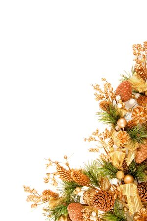 garland: Christmas Ornament Coner Decoration Series ýsolated on white