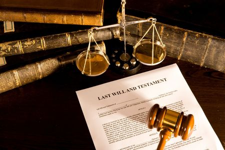 attorney: Will concept Scale, old book, and gavel