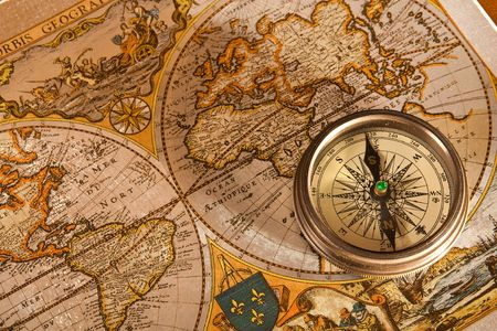 vintage world map: Vintage Old Map and Compass Concepts