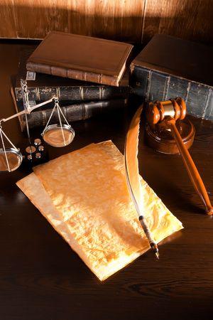 Vintage Quill Pen,Parchment and Law Concept photo