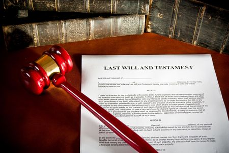 testaments: Will concept Scale, old book, and gavel