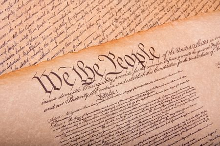 declaration: Old fashionet American Constitution on parchment paper