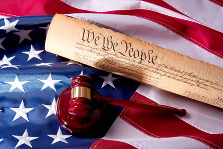constitution: Usa Flag, Gavel  and US Constitution concept.