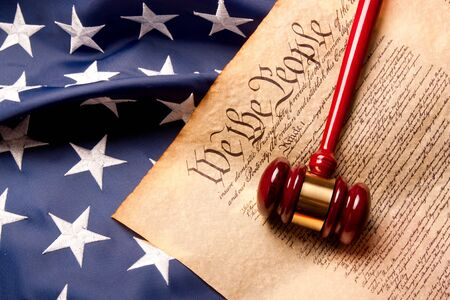 Usa Flag, Gavel  and US Constitution concept. photo