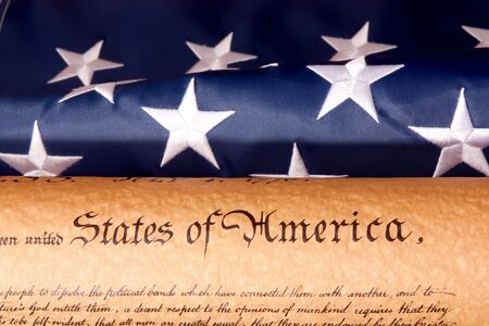 Old fashionet American Constitution with USA  Flag. Stock Photo - 5818648