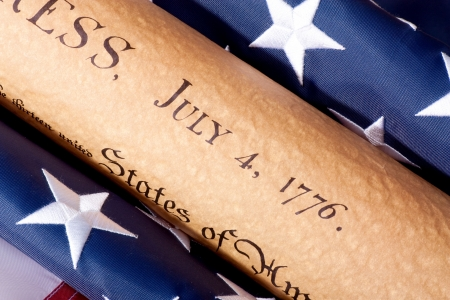 Fourth of July Parchment Document witdh American Flag photo