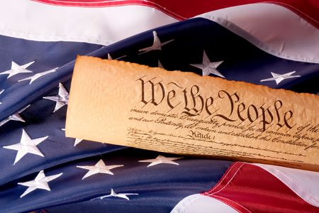 Old fashionet American Constitution with USA  Flag. Stock Photo - 5818656