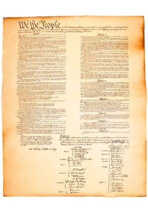 constitution: US Constitution on Parchment paper on isolated white