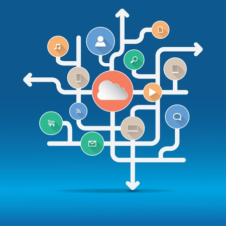 クラウド ・ コンピューティングとアプリケーションの概念  イラスト・ベクター素材