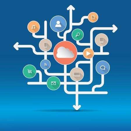 Cloud Computing and Applications concept  Çizim