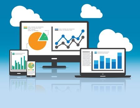 data analysis: Website analytics and SEO data analysis concept Illustration