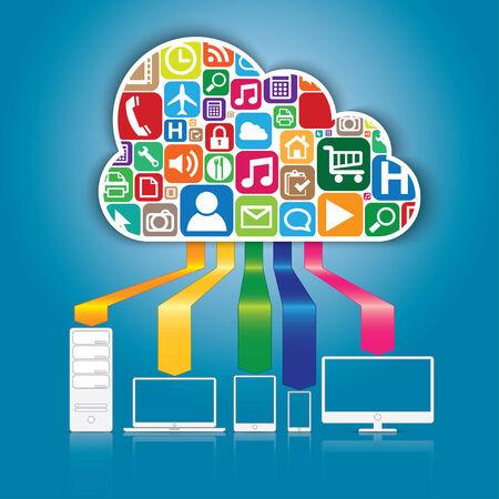 クラウド コンピューティングおよびアプリケーションの概念  イラスト・ベクター素材