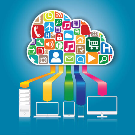Cloud computing and applications concept Vector