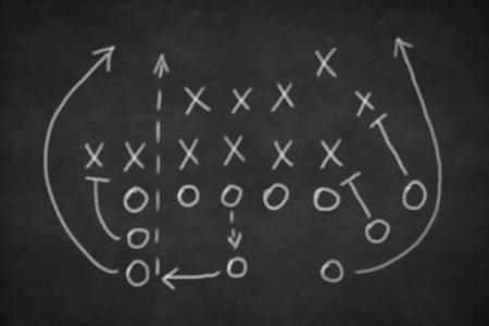 Game strategie getekend met wit krijt op een schoolbord