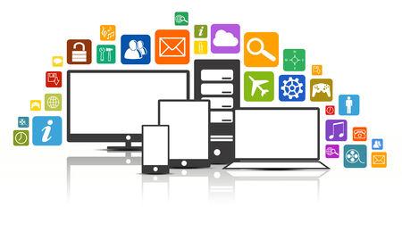 デジタル メディア技術多くのアプリ アイコンのアプリケーションを作成