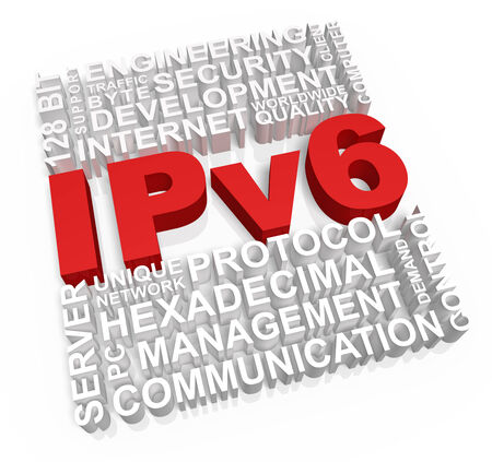 Ipv6 and related words on white backgorund  免版税图像