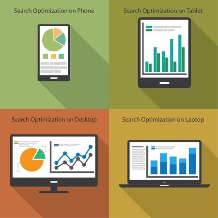 Web サイト分析や SEO データ分析概念。EPS10 ファイルと含まれている高解像度 jpg  イラスト・ベクター素材