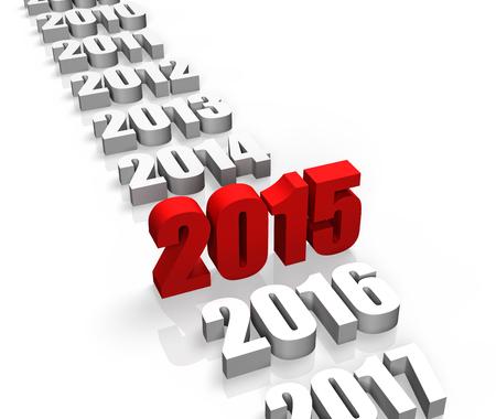2015 年および他の年とフロントの背後にあります。 写真素材