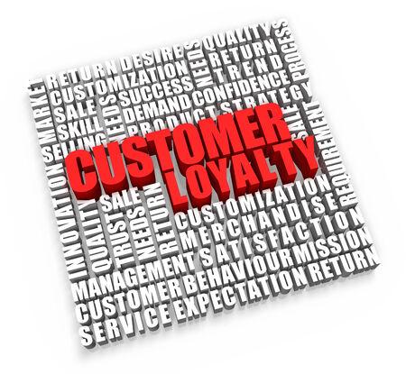 顧客の忠誠心と白い背景に関連する単語。 写真素材