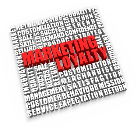 Marketing Loyalty and related words on white background.