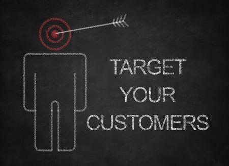 黒板にあなたの顧客の概念をターゲットに。