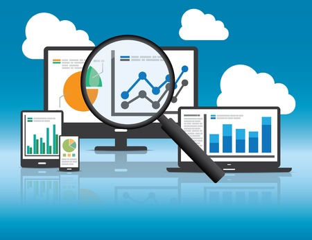 Análisis de sitios web y concepto de análisis de datos SEO. Archivo EPS10 e incluido jpg de alta resolución