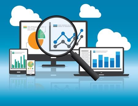 Analityka internetowa i SEO analiza danych koncepcji. EPS10 pliku i zawiera wysokiej rozdzielczości jpg