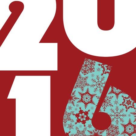 2016 新年のご挨拶カード ハッピー休日。スタイリッシュなデザイン