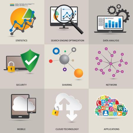 Technology concept icons. 矢量图像