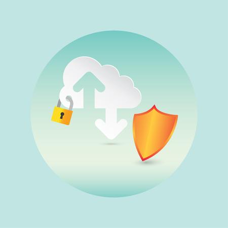 セキュリティ、クラウド技術コンセプト。