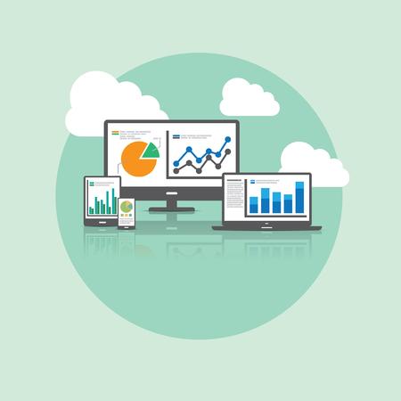 Big Data and Cloud Technology Concept. 일러스트